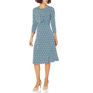 Donna Morgan 3/4 Sleeve Knot Front Dress 6 NWT
